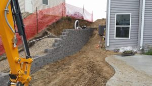 Side of House Retaining Wall | Extreme Green Lawn & Landscape | Germantown WI